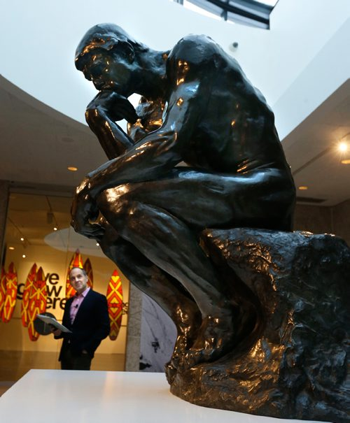 WAYNE GLOWACKI / WINNIPEG FREE PRESS  Stephen Borys ,WAG Director and CEO at the unveiling of the sculpture THE THINKER by Auguste Rodin in the Skylight Lounge at the Winnipeg Art Gallery Friday. The 408kg. bronze sculpture was lent to the gallery by a private collector and will be on exhibit until spring. Dec.16 2016