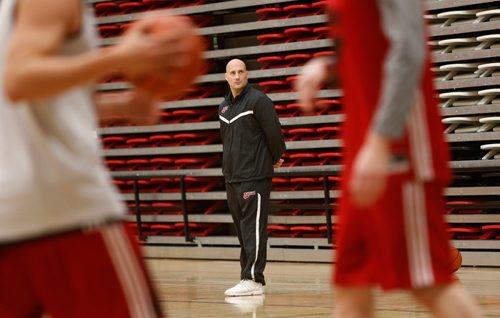 WAYNE GLOWACKI / WINNIPEG FREE PRESS  University of Winnipeg Men's Basketball Head Coach Mike Raimbault  at the team's practice in the Duckworth Centre Wednesday.  Mike Sawatzky has the 50th Annual Wesmen Classic story.  Dec.21 2016