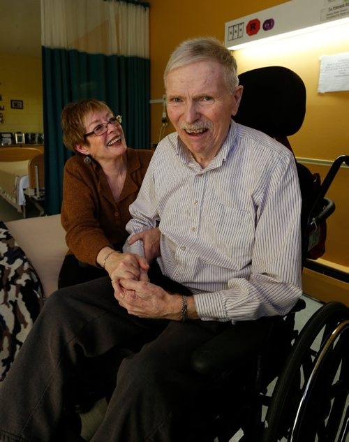WAYNE GLOWACKI / WINNIPEG FREE PRESS   EMBARGED UNTIL JAN 10. Marilyn Davis visiting her husband Dave Kydd at Oakview Place Extendicare, he has Lewy body dementia (it's like Parkinsons combined with Alzheimer's) and doesn't know her name anymore.   FOR CAOL SANDERS STORY Jan.5  2017