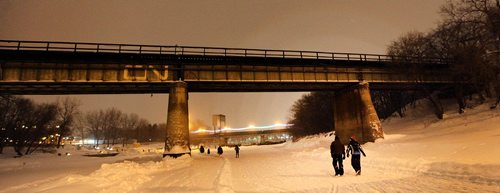 PHIL HOSSACK / WINNIPEG FREE PRESS -  RIVER TRAIL at NIGHT.....Skaters cyclists and walkers started making their appearance Monday night as the Forks River trail opened officially for the season. ....January 9, 2017