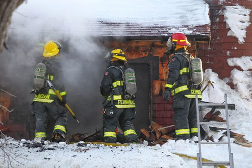 MIKE DEAL / WINNIPEG FREE PRESS Fire crews, police and EMS are at the 500 block of Strathcona fighting a house fire. There's no word yet on injuries of if anyone was at home at the time of the fire. 170115 Sunday, January 15, 2017