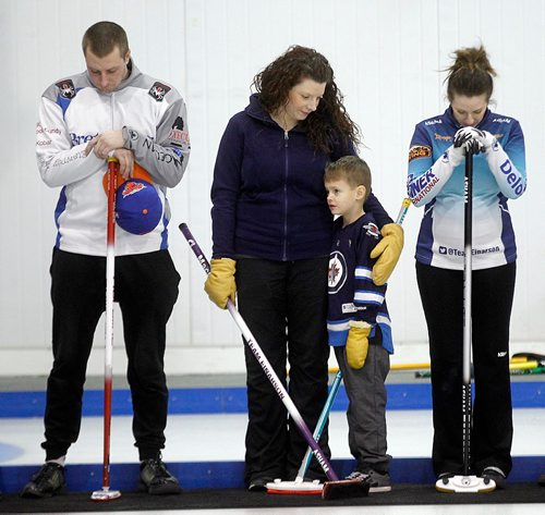 PHIL HOSSACK / WINNIPEG FREE PRESS - The late Vic Peters son and daughters Daley Peters, Kasandra Leafloor, her son Jacob (7) and Liz Fyfe the Fort Garry Curling Club Thursday. Vic's grandson Jacob threw out the opening rock! See Jason Bell's story.  ....January 19, 2017