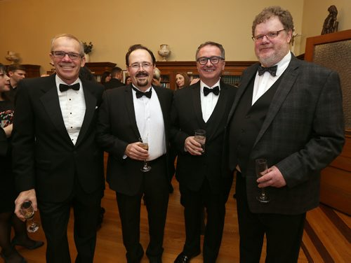 JASON HALSTEAD / WINNIPEG FREE PRESS  L-R: Winnipeg Free Press publisher Bob Cox, Scott Greenlay (chair of the St. Mary's Academy board), CJOB's Richard Cloutier and Free Press columnist Doug Speirs, at the St. Mary's Academy Igniting Hope Gala gala on Jan. 28, 2017, at St. Mary's Academy. (See Social Page)