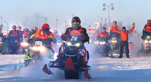 WAYNE GLOWACKI / WINNIPEG FREE PRESS   Eighty riders from Canada and the U.S. began the 2017 USXC I-500 cross country snowmobile race from Winnipeg to Bemidj, MN. in the -29C temperature Wednesday morning at the Red River Co-op Speedway.  Riders leave two at time to begin this race that has some of the world's best snowmobile racers competing for more than 500 miles over some of the toughest terrain Mother Nature can create. Feb. 8  2017