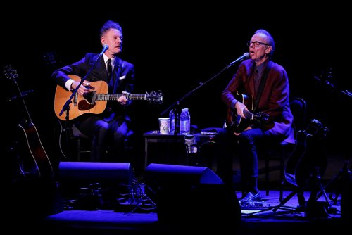 JOHN WOODS / WINNIPEG FREE PRESS Lyle Lovett and John Hiatt perform at Pantages Playhouse Theatre Tuesday, February 28, 2017.