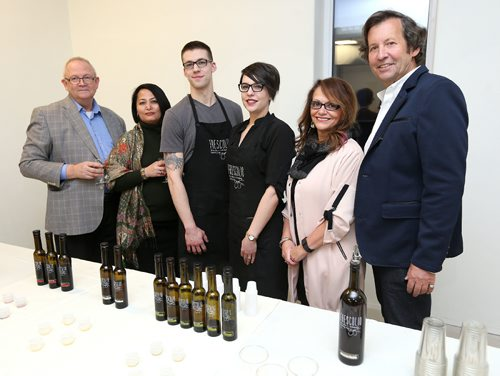 JASON HALSTEAD / WINNIPEG FREE PRESS  L-R: Doug Tiney, Dr Pita Tingey, Paul Hogue (Frescolio staff member), Chantal Hogue (Frescolio store manager), Nancy Heinrichs (executive director of Norwest Co-op Community Food Centre) and Barry Greenberg at NorWest Co-op Community Food Centre's Sip and Savour wine tasting and food pairing fundraiser on Feb. 23, 2017 at the Upside Down Tree in Downtown Winnipeg. (See Social Page)