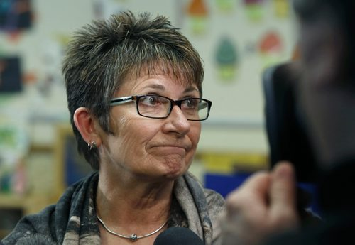 WAYNE GLOWACKI / WINNIPEG FREE PRESS  Pat Wedge, executive director of the Manitoba Child Care Assc.is interviewed after Families Minister Scott Fielding announced new child-care spaces and improvements to the licensed early learning and child-care system. The press conference took place at Provencher School Thursday . Nick Martin story March 9    2017