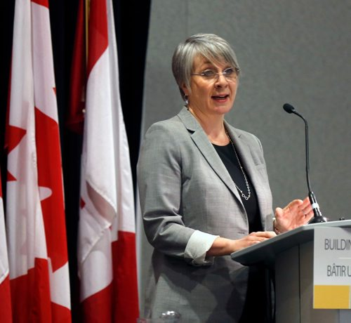 WAYNE GLOWACKI / WINNIPEG FREE PRESS  Patty Hajdu, Minister of Employment, Workforce Development and Labour addresses Economic Development Winnipeg to highlight the federal budget 2017 Friday morning at the RBC Convention Centre.¤ Ashley Prest story    March 24    2017