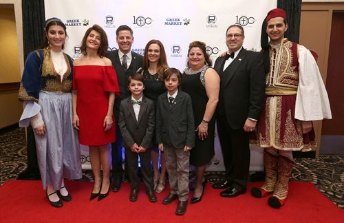 JASON HALSTEAD / WINNIPEG FREE PRESS  L-R: Paris Ginakes (Kefi Greek Folk Dancers of Manitoba), Nia Vardalos, Mayor Brian Bowman, Tracy Bowman and their sons Austin, 6, and Hayden, 9, Georgia Chouzouris and Dino Chouzouris (president of the Greek Community of Winnipeg) and Costa Ginakes (Kefi Greek Folk Dancers of Manitoba) at the Greek Community of Winnipeg gala celebration to mark 100 years of incorporation on March 25, 2017 at the Victoria Inn Hotel & Convention Centre. (see Social Page)