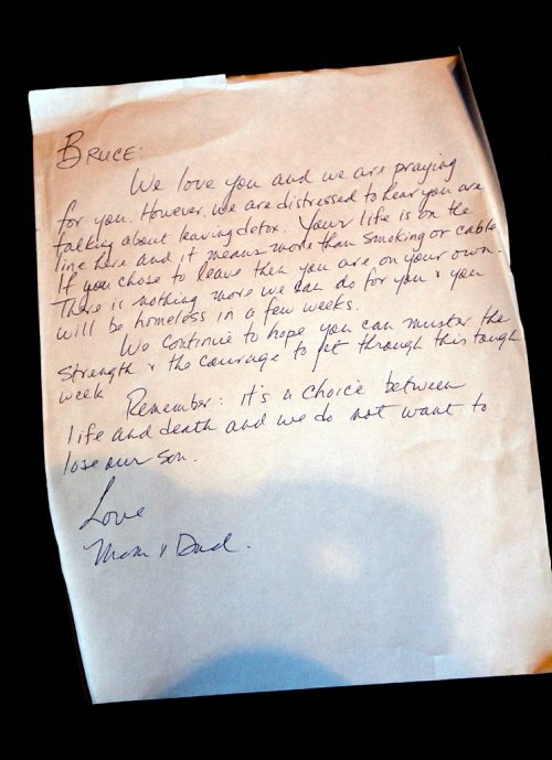 PHIL HOSSACK / WINNIPEG FREE PRESS  -  A  letter written by Anne and Scott Oake to their son in recovery is one of many pieces in his mother Anne's box of memoribilia. See Randy Turner's story. -  April 13, 2017