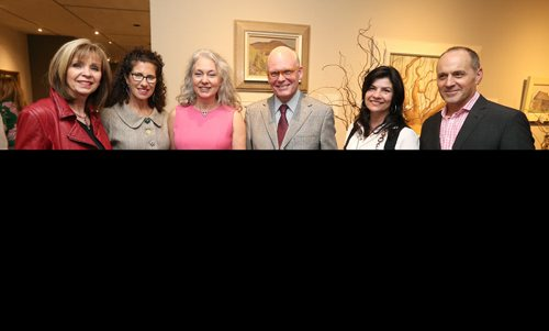 JASON HALSTEAD / WINNIPEG FREE PRESS  L-R: Karen Menkis, Hennie Corrin (Art In Bloom co-chair), Hazel Borys (Art In Bloom co-chair), James Ripley, Charlene Brown and Stephen Borys (WAG director & CEO) at the Art In Bloom show opening on April 20, 2017 at the Winnipeg Art Gallery at the Art In Bloom show opening on April 20, 2017 at the Winnipeg Art Gallery. (See Social Page)