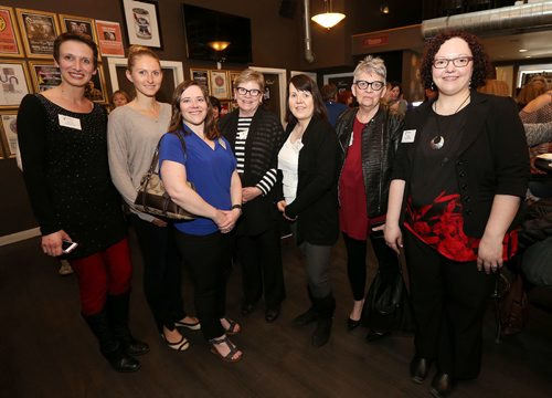 JASON HALSTEAD / WINNIPEG FREE PRESS  L-R: Fort Garry Women's Resource Centre (FGWRC) board members Michelle Yelland, Zoe Richardson, Jen Goldenberg, Joan Jarvis, Lea Currie, Marie Gregorashuk and Brigitte Lazarko at the FGWRC fundraiser at the Park Theatre on April 20, 2017. (See Social Page)