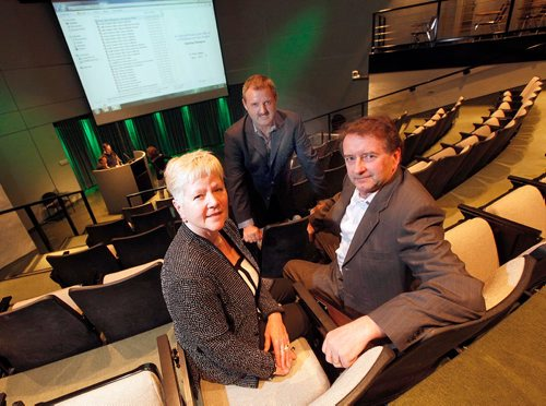 PHIL HOSSACK / WINNIPEG FREE PRESS  -  Left to right, Dr. Michelle Alfa who concuted the trials, MSPrebiotics Earl McLaren President and Derek McLaren Vice President pose before unveiling their findings Monday. See Martin Cash story. .  -  May1, 2017
