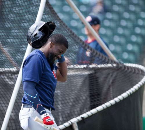 Outfielder Reggie Abercrombie (#11) walks out of the batting cage at the Winnipeg Goldeyes Open House at Shaw Park. Saturday, May 6, 2017. Copyright Jessica Finn for the Winnipeg Free Press.