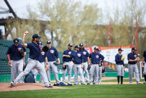 Right hand pitcher Ryan Chaffee (#25) winds up during practice drills at the Winnipeg Goldeyes Open House at Shaw Park. Saturday, May 6, 2017. Copyright Jessica Finn for the Winnipeg Free Press.