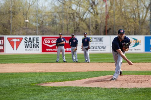 Right hand pitcher Ryan Chaffee (#25) throws a pitch during batting practice at the Winnipeg Goldeyes Open House at Shaw Park. Saturday, May 6, 2017. Copyright Jessica Finn for the Winnipeg Free Press.