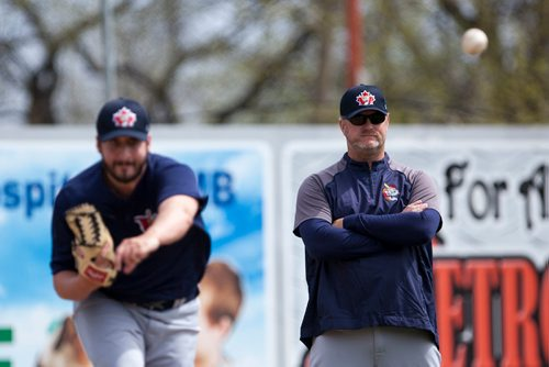 (Right to left) Winnipeg Goldeyes manager Rick Forney watches left hand pitcher Kenny Matthews (#14) during practice at the Goldeyes' Open House at Shaw Park. Saturday, May 6, 2017. Copyright Jessica Finn for the Winnipeg Free Press.