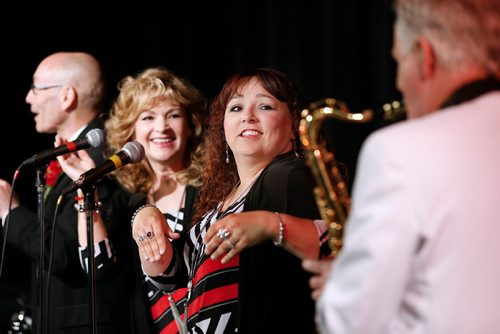 JOHN WOODS / WINNIPEG FREE PRESS Harvey Peltz (vocal, hand percussion), Linda Ruppel (vocal, hand percussion), Gloria Harris (vocal, hand percussion) listen to Rick Hemmerling's (keyboards, sax, flute) sax solo as Rewind rehearse at Kildonan-East Collegiate in Winnipeg Tuesday, May 30, 2017.  Rewind is made up of Larry Ruppel (vocals, guitar), Gord Kudlak (vocals, congas, bongos), Linda Ruppel (vocal, hand percussion), Harvey Peltz (vocal, hand percussion), Gloria Harris (vocal, hand percussion), John Wrublowsky (bass), Chris Wheeler (drums), Rick Hemmerling (keyboards, sax, flute)