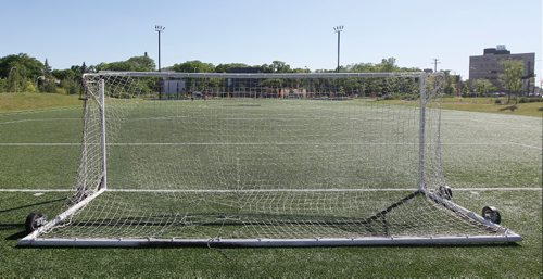 JOHN WOODS / WINNIPEG FREE PRESS Unsecured portable soccer goal at Gordon Bell High School Monday, June 12, 2017. A few children have died when the goals fell on them as they swung or climbed on the posts
