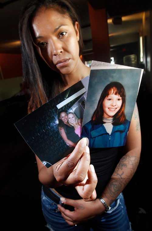 PHIL HOSSACK / WINNIPEG FREE PRESS  -   Cold Case -  Cara Lynn Hiebert was murdered in 2011 and case was never solved. Isabel Daniels holds up a pair of photos, one of Cara Lynn (right) and one of the two of them. She was Cara Lynn's best friend, and is holding a fundraiser at Le Garage in honour of Cara Lynn this august.  Dave Baxter cold case story running Sunday.  -  June 20, 2017
