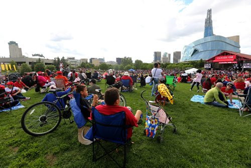TREVOR HAGAN / WINNIPEG FREE PRESS Crowds watching Attica Riots during Canada Day and Canada 150 celebrations at The Forks, Saturday, July 1, 2017.