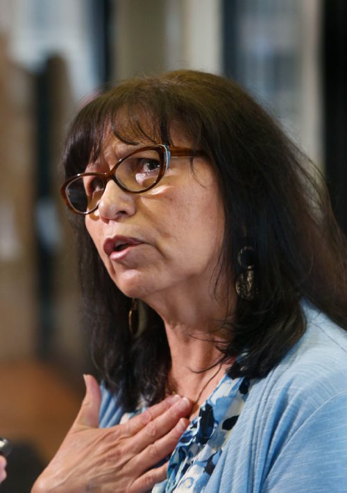 WAYNE GLOWACKI / WINNIPEG FREE PRESS  Betty Rourke's daughter and sister were murdered. She spoke to media after a news conference held by the Missing and Murdered Indigenous Women and Girls Coalition along with  families and survivors in Winnipeg Wednesday.  Alex Paul story ¤July 12  2017