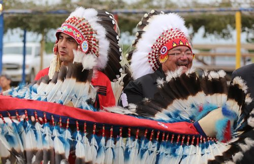 TREVOR HAGAN / WINNIPEG FREE PRESS  Newly elected AMC Grand Chief Arlen Dumas and Peguis Chief Glenn Hudson holding the headdress presented to Hudson by Lord Selkirk, Friday, July 21, 2017.