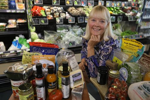 RUTH BONNEVILLE / WINNIPEG FREE PRESS  Biz:  Canadiancoolfoods.com is Marnie Scott's labour of love. The website listing only truly Product of Canada foods. The only other retriction is that they can be bougth on-line or in a store. Scott makes no money and does not promote any of the products per se. It is the only place to find all-Canadian foods. Photo of Marnie Scott'with a wide variety of Canadian Made products in a Vita Health Food store which carries many Canadian made products.       See Martin Cash  | Business Reporter/ Columnist July 25,, 2017