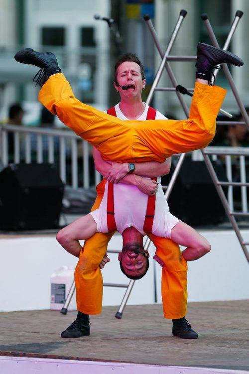 JOHN WOODS / WINNIPEG FREE PRESS Circus Firemen perform at the Fringe Sunday, July 30, 2017.