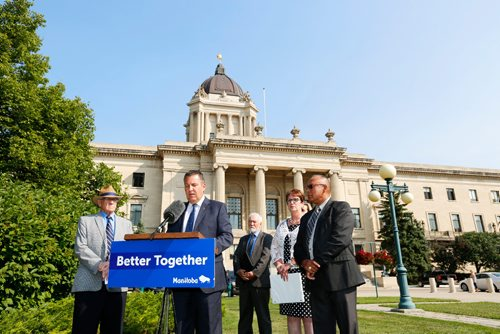 JUSTIN SAMANSKI-LANGILLE / WINNIPEG FREE PRESS Growth, Enterprise and Trade Minister Cliff Cullen speaks outside the Manitoba Legislature building Tuesday at a press conference announcing a plan to work with First Nations communities to develop a Mineral Development Protocol. 170801 - Tuesday, August 01, 2017.