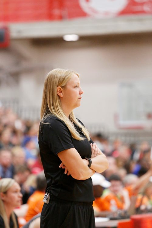 JUSTIN SAMANSKI-LANGILLE / WINNIPEG FREE PRESS Team Manitoba Head Coach Alyssa Grant reacts to a call by the referees during Wednesday's women's basketball quarter final at the University of Winnipeg's Duckworth Centre. 170802 - Wednesday, August 02, 2017.