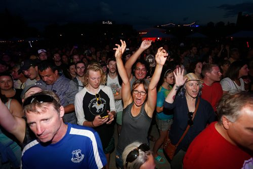 JOHN WOODS / WINNIPEG FREE PRESS Fans welcome Crash Test Dummies during Canada Games Manitoba Night at the Forks Monday, August 7, 2017.