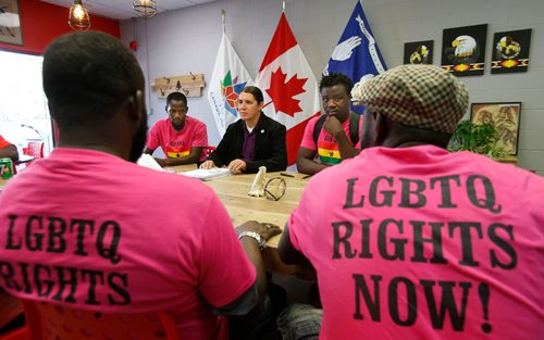 """WAYNE GLOWACKI / WINNIPEG FREE PRESS  Members of the """"Ghana Pavilion"""" delivered their petition and met with  Wpg. Centre MP Robert Falcon Ouellette in centre in his constituency office Tuesday.   Carol Sanders story  August 29 2017"""