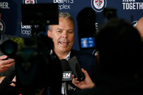 Winnipeg Jets GM Kevin Cheveldayoff talks to media on opening day of the Jets' training camp Thursday, September 14, 2017 in Winnipeg. (The Canadian Press/John Woods)