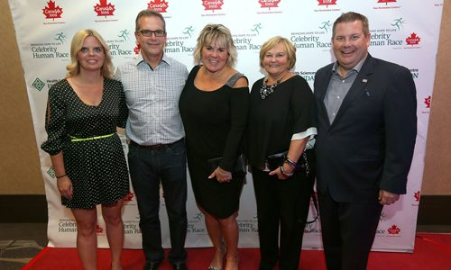 JASON HALSTEAD / WINNIPEG FREE PRESS  L-R: Terry Waller (Canad Inns), Dan Lussier (Canad Inns), Tina Jones (Banville and Jones Wine Co.), Cindy Carswell (Canad Inns) and Jonathon Lyon (HSC Foundation president and chief executive officer) at the awards reception at Canad Inns Destination Centre Polo Park on Sept. 23, 2017 for the Health Sciences Centre Foundation's fifth Celebrity Human Race fundraiser. (See Social Page)