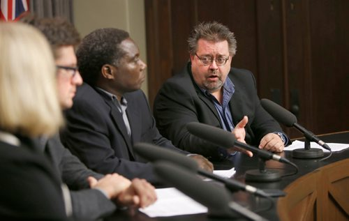 WAYNE GLOWACKI / WINNIPEG FREE PRESS  From right, Don Labossiere, director, environmental compliance and enforcement, Manitoba Sustainable Development, Francis Zvomuya, department of soil sciences, University of Manitoba, Matt Allard, city councillor, St. Boniface and Rochelle Squires, Sustainable Development Minister at the news conference Monday regarding the St. Boniface soil testing results . News conference was in the Manitoba Legislative bld. Larry Kusch story Oct.16
