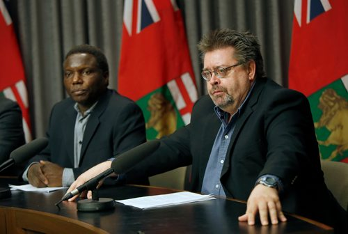 WAYNE GLOWACKI / WINNIPEG FREE PRESS  At right, Don Labossiere, director, environmental compliance and enforcement, Manitoba Sustainable Development and Francis Zvomuya, department of soil sciences, University of Manitoba at the news conference Monday regarding the St. Boniface soil testing results . News conference was in the Manitoba Legislative bld. Larry Kusch story Oct.16 2017