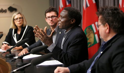 WAYNE GLOWACKI / WINNIPEG FREE PRESS  From right, Don Labossiere, director, environmental compliance and enforcement, Manitoba Sustainable Development, Francis Zvomuya, department of soil sciences, University of Manitoba, Matt Allard, city councillor St. Boniface and Rochelle Squires, Sustainable Development Minister at the news conference Monday regarding the St. Boniface soil testing results . News conference was in the Manitoba Legislative bld. Larry Kusch story Oct.16