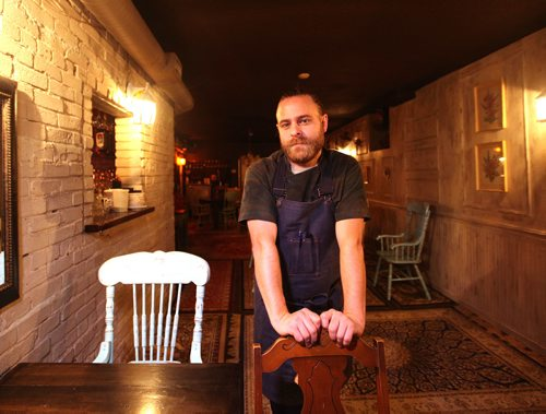 RUTH BONNEVILLE / WINNIPEG FREE PRESS  CHEF'S TABLE - Sous Sol Portrait of award-winning chef Mike Robins in his iconic dining room located in the basement of  22-222 Osborne St, for Uptown Chef's Table next week   Nov 16, 2017
