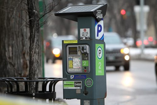 RUTH BONNEVILLE / WINNIPEG FREE PRESS  Visuals for story on parking rates going up in Winnipeg. Photos of parking meters on various down town streets.   See parking rate hike story.   Nov 23, 2017