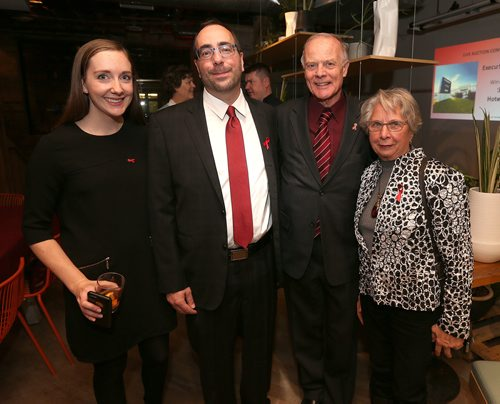 JASON HALSTEAD / WINNIPEG FREE PRESS  L-R: Bailie Payne, Mike Payne (executive director Nine Circles), Jon Gerrard (MLA for River Heights) and Naomi Gerrard at Nine Circles Community Health Centre's Crimson & Cocktails: A World AIDS Day Mixer on Dec. 1, 2017, at Forth in the Exchange District. (See Social Page)