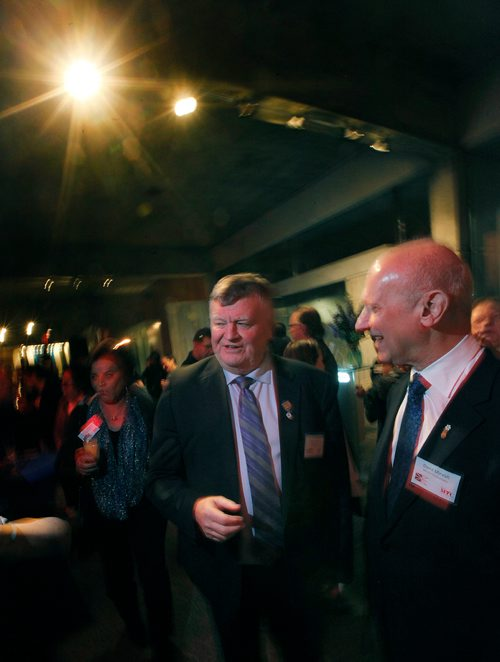 """PHIL HOSSACK / Winnipeg Free Press - Claude Elliot, who was mayor of Gander Newfoundland when the twin towers came down chats with theatre goers Thursday evening at the opening of """"Come From Away"""" at MTC. David Mirvish is on right bantering with the former mayor. January 11, 2018"""
