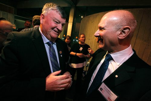 "PHIL HOSSACK / Winnipeg Free Press - Claude Elliot, who was mayor of Gander Newfoundland when the twin towers came down chats with theatre goers Thursday evening here with David Mirvish at the opening of ""Come From Away"" at MTC. January 11, 2018"