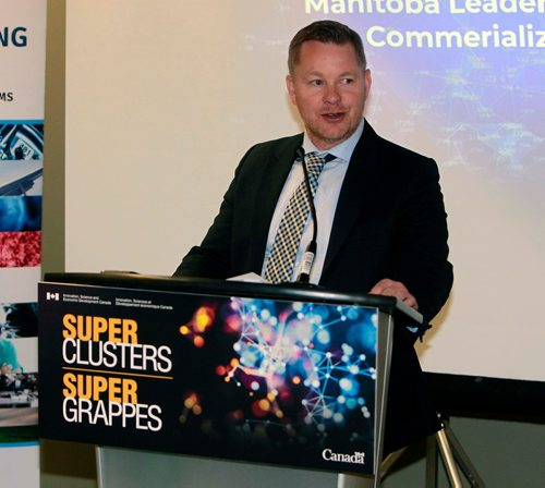 BORIS MINKEVICH / WINNIPEG FREE PRESS Supercluster Funding press announcement. MTA CEO Marshall Ring speaks at the event. Manitoba Technology Accelerator. Event took place at 136 Market-4th floor. MARTIN CASH STORY. Feb. 23, 2018