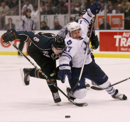 The Manitoba Moose's Nathan McIver collides with the Toronto Marlies' Tim Stapleton while battling for the puck during the second period of AHL playoff action at the Ricoh Centre in Toronto, ON Sunday, April 19, 2009. Darren Calabrese for The Winnipeg Free Press