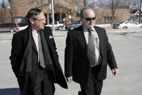 MIKE.DEAL@FREEPRESS.MB.CA 100303 - Wednesday, March 4th, 2010 Cpl. Jeff Moyse (sunglasses) leaves the Provincial Court in Selkirk with his lawyer. See Mike McIntyre story. MIKE DEAL / WINNIPEG FREE PRESS
