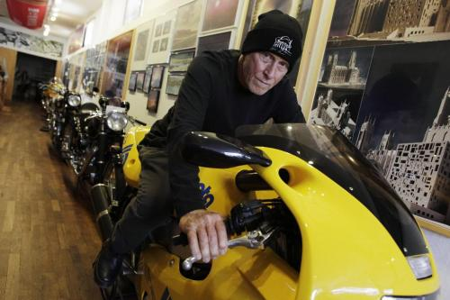 Antoine Predock, architect responsible for the Canadian Museum for Human Rights, on one of his many motorcycles in his office in Albuquerque New Mexico, August 10, 2010. Lyle Stafford/Winnipeg Free Press