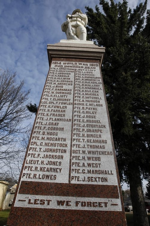 KEN GIGLIOTTI / WINNIPEG FREE PRESS  / Oct  20 2019 - 101020 - Kevin Rollason  Remembrance Day features  story -  in pic  WW1 War Memorial in downtown Carberry , with long list of dead from the area  , many would have trained  at Camp Hughes - in  some pics military historian Bruce Tascona  walks through trench system  at  WW1 Trench Warfare training area at Camp Hughes  ( formerly Camp Sewell ) , near Carberry . Camp Sewell  was opened  in 1909 and the name was changed to Camp Hughes in 1915 -  Camp Hughes was named after Major-General Sir Sam Hughes , 38,000 troops of the Canadian Expeditionary Force  trained in trench warfare , many fought Vimy Ridge - Remembrance day  , Winnipeg war memorial kgwarmemorial